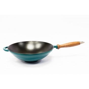 Сковорода WOK с деревянной ручкой эмалированная зеленая